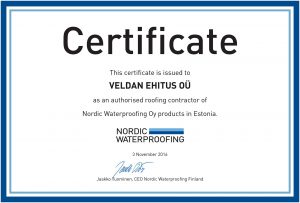 Veldan Ehitus OÜ sertifikaat